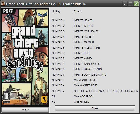Grand Theft Auto: San Andreas v1.01 +16 Trainer [GrizzlY]