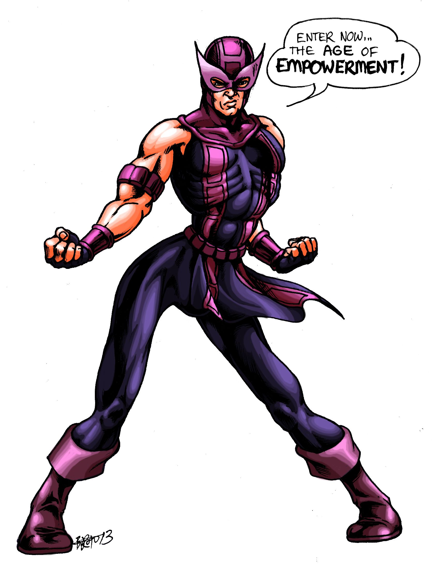 Hawkeye in an awkward stance, by Britt Roth